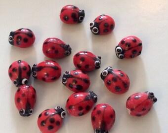 Destash--Cute Red Lady Bug beads