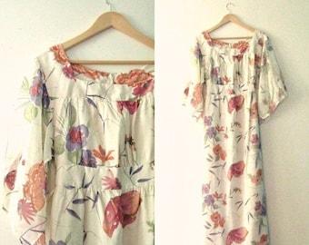 Spring SALE Vintage 70s maxi dress / gauze floral butterfly watercolor print dress / Hippie Boho maxi dress