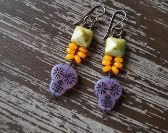 Unlisted - Skull Earrings - Purple and Green Earrings - Boho Earrings - Bright Colors - Pyramid Earrings - Bead Soup Jewelry