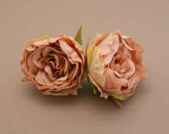 2 Small LIGHT MOCHA Ruffle Peonies  - Artificial Flower Heads, Silk Flowers