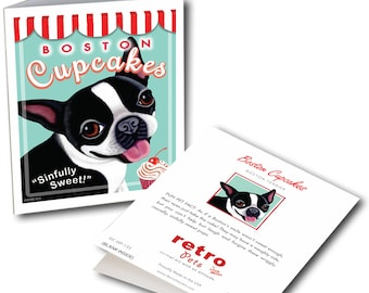 """Boston Terrier Cards """"Boston Cupcakes"""" 6 Small Greeting Cards by Krista Brooks"""