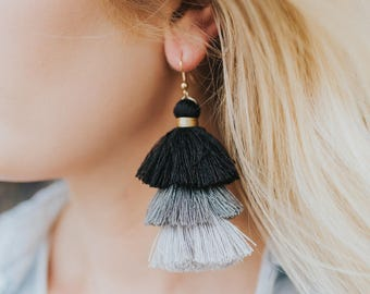 Tri Color Tassel Earrings-Black