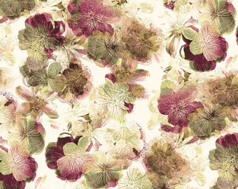 Kanvas by Benartex - Floral Impressions - Photo Impressions - Cream w/ Metallic Gold - Fabric by the Yard 8677MB-07
