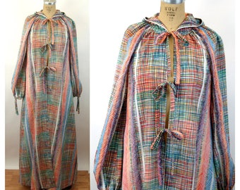 1970s robe caftan beach cover up hooded robe boho plaid multi colored Size M/L
