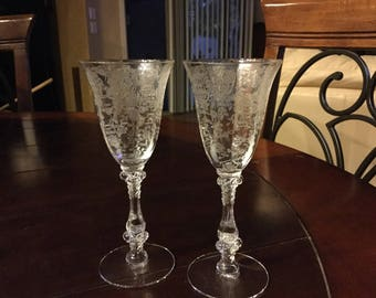 Vintage Cambridge Rose Point Optic Wine Glasses Set of 2