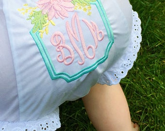 Newborn Baby Girl / Bloomer Diaper Covers / Monogram Baby Gift / Floral Bouquet Diaper Cover