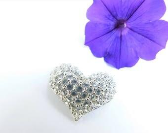 Estate Swarovski Crystal Clear Ice Heart Brooch Pin Swan Signed Back
