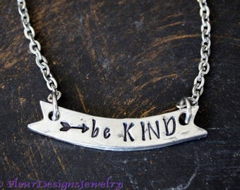 Be KIND- Necklace, Be Kind Motivational Necklace, Be Kind Charm Necklace, Inspirational Jewelry