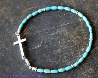 Turquoise Cross Bracelet, Turquoise and Silver Cross Bracelet, Turquoise Bracelet with Sideways Silver Cross