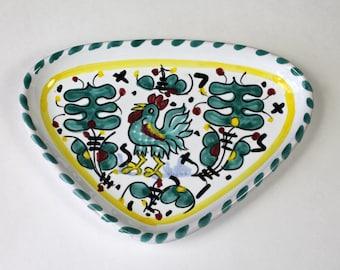 Vintage Trinket Ring Dish Deruta Rooster Italian Majolica Ceramic Rooster Dish Sambuco Mario Made in Italy