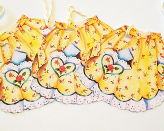 Retro Apron Tags - Variety Set 9 - 1950's Aprons - Apron Gift Tags - Hand Cut Tags - Apron Shapes - Vintage Aprons - Yellow Red - Blue Pink