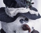 Primitive Snowman Tree Topper by Happy Valley Primitives
