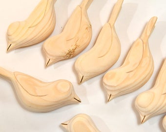 Wooden Birds Sculpture 8 Unfinished Bird Carvings, Craft Supply, Wood Carving, Woodworking, Fall Craft Supplies, Adult Craft