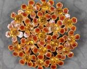 Vintage 1960s Brown and Orange Topaz Centered Flower Cluster Round Enameled Brooch
