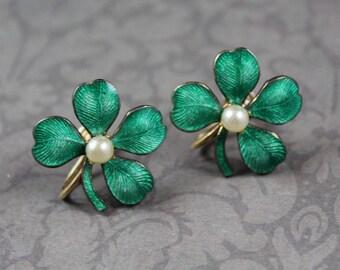 Vintage Green Enamel Faux Pearl Golden Shamrock Screw Back Earrings