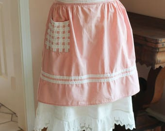 Vintage Pink and White Cotton Checkered Pocket Half Apron