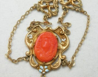 CIJ SALE Christmas JULY Lovely Art Nouveau Coral Glass Cameo Enamel Ornate Brass Gold Fill Vintage Necklace Art Nouveau Jewelry