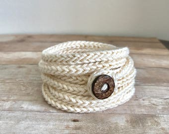 Hand Knit Bracelet Wrap Bracelet in Ecru Cotton