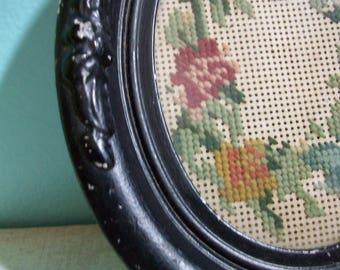 Antique Framed Needlepoint/Petit Point/Floral Needlepoint/Oval Frame/Desk Ornament