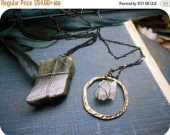 SALE Runes. Isa or Laguz - Ice Or Water - Crystal Quartz Halo or Blue Flash Labradorite stone Pendant & gunmetal necklace. Rustic solitary s