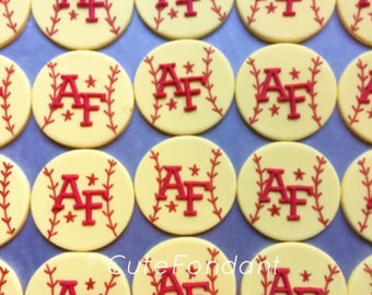 12 Monogrammed Softball fondant cupcake toppers