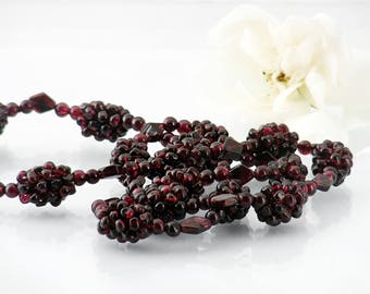 Vintage Garnet Necklace | Woven Garnet Rope | Natural Almandine Garnets, Summer Blackberries | Garnet Gemstone Necklace - 27 Inch Woven Rope