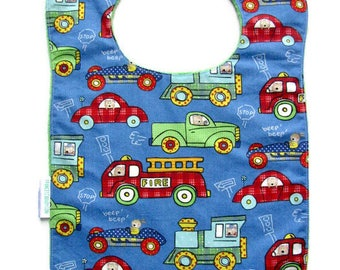 Bib, Large Bib, Critters in Vehicles, Toddler Bib, Baby Bib, ,Reversible Bib,  Minky Bib, Oversized Bib,  Ready to Ship, Baby Shower Gift