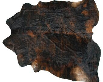 Brazilian Cowhide Fur Rug - Extra Large Exotic Dark Brown Black Brindle Mix - Real Cowhide 7.5' - NEW