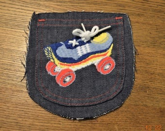 70's Roller Skate Patch with salvaged Pocket Hippies,Disco ,Roller Derby ,Skater ,Groovy