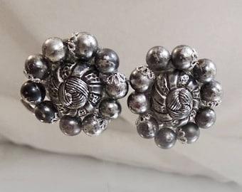 SALE Vintage Gray Bead Earrings.  Gunmetal Gray and Textured Silver Beaded Earrings.  Western Germany.