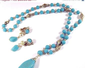 SALE Turquoise Aqua Art Glass Vintage Necklace and Earring Set