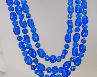 SALE Vintage Bright Blue Three Strand Lucite Necklace.  Hong Kong. Blue Crackle Lucite Bead Necklace.