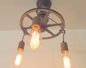 INDUSTRIAL Pulley Ceiling Light with VINTAGE Insulator Shown with Filament Edison Bulbs Upcycle Recycle Repurpose Antique Farmhouse Lighting