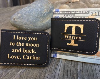 Personalized Leather Money Clips, Boyfriend Gift, Husband Gift, Father's Day Gift, Christmas Gift, Gift for Dads, Valentine's Gift, Magnetic