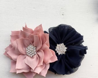 dusty pink clip navy hair clip, pink flower clip, flower girl accessory, ivory hair clip, girl hair clip