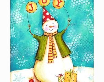 25% OFF PRINTS Sweet Joy Snowman Print 8x10