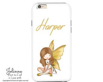 Personalized Name Phone Case Cover protection Angel Picture Iphone Samsung Galaxy White Case for Phone Kids Girls Artwork Artist Design