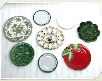 FRENCH FARMHOUSE wall decor of mismatched China plates