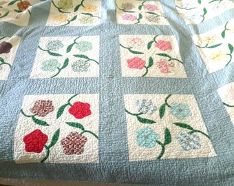 Stunning Cottage Quilt vintage c1930 Cottage Blue Flower Motif on vibrant colors Farmhouse Bedroom Decor