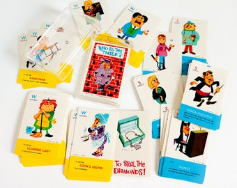 Vintage 1960s Childrens Card Game / Whitman Who Is the Thief? Card Game 1966 Complete in Case VGC / Mid Century Retro Illustrations