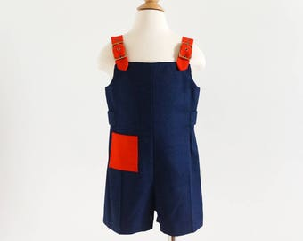 Vintage 1960s Childs Size 4 Overall Shorts, Florence Eiseman for Neiman Marcus Navy Red Light Wool Gold Tone Hardware