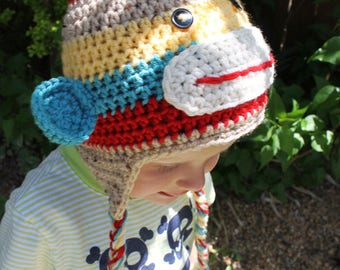Sock Monkey Stripes Earflap Hat ALL Sizes Newborn to Adult