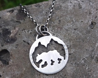bear and mountains sterling silver necklace - bear necklace - mountain necklace - landscape - spirit animal