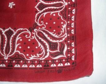 Vintage red Tiger Brand cotton Bandanna • Wash Fast Color bandana