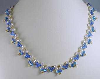 Necklace Woven Pearl and Swarovski Crystal ABx2 Sapphire Blue