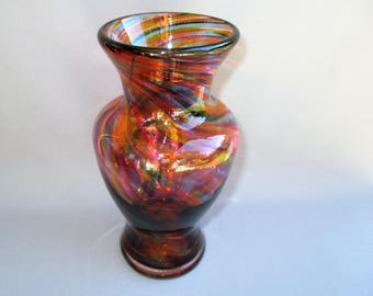 Hand Blown Art Glass Florida Mix Color Bud Vase.