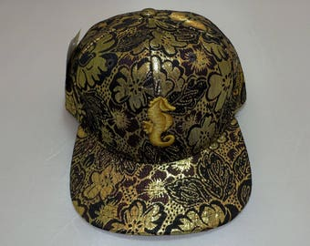 Snapback Flat-Brim Hat - Seahorse (One-of-a-kind)