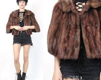 25% off Summer SALE Vintage Rabbit Fur Capelet Genuine Real Fur Coat Brown Rabbit Fur Coat Short Cape Winter 1950s 1960s Womens Retro Mad Me
