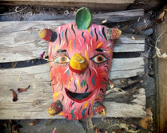 Vintage colorful wooden Mexican folk art mask with seed pods, Mexican art, rustic home decor, bohemian decor, colorful wall art, wall decor