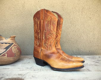 Pre-owned Sonora cowgirl boots Women Size 9 M (fits to 9.5) caramel brown leather cowboy boots